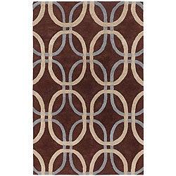 Hand-tufted Blue Chainlink Mandara Wool Rug (7'9 x 10'6)