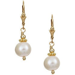 Charming Life 14k Goldfill White FW Pearl Earrings (7-8 mm)