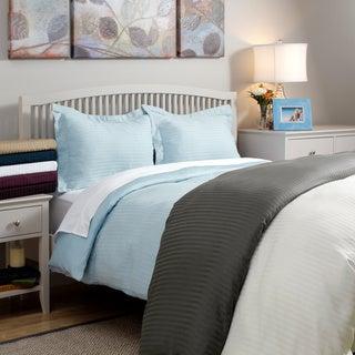 Wrinkle-resistant 300tc Cotton Reversible Solid/Stripe 3-piece Duvet Cover Set