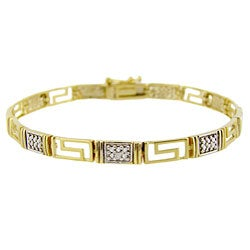 DB Designs Sterling Silver Diamond Accent Greek Key Bracelet
