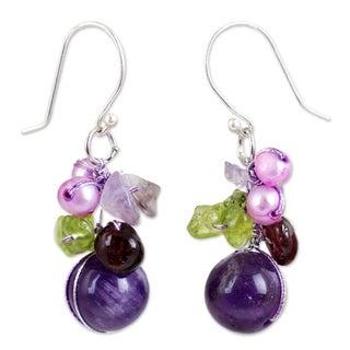 Silver Garnet/ Amethyst 'Bright Bouquet' Earrings (Thailand)