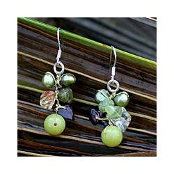 Sterling Silver 'Freshness' Pearl/ Peridot Earrings (Thailand)