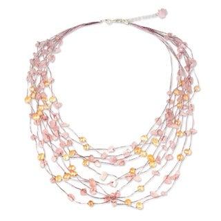 Pearl and Rose Quartz 'Cascade' Strand Necklace (Thailand)