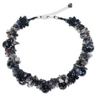 Sterling Silver Smokey/ Rutile Quartz 'Gush' Necklace (Thailand)