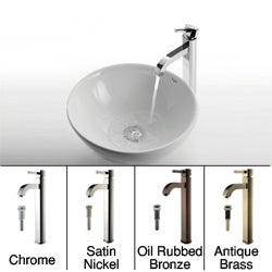 Kraus Round Ceramic Vessel Sink and Ramus Faucet