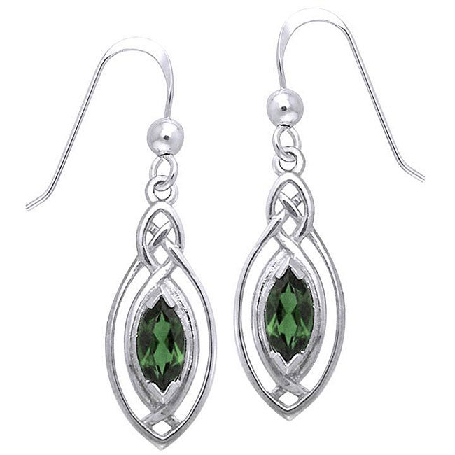 CGC Sterling Silver Celtic Created Emerald Dangle Earrings