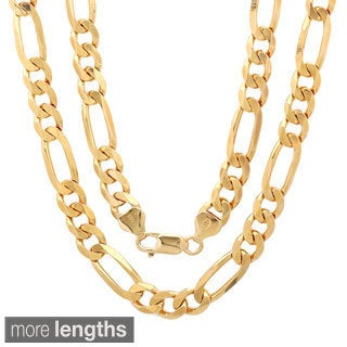 Sterling Essentials 14K Gold Plated Silver Diamond-cut Figaro Chain (7.5 mm)
