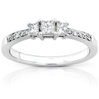 Annello 14k Gold 1/3ct TDW Princess Diamond Engagement Ring (H-I, I1-I2)
