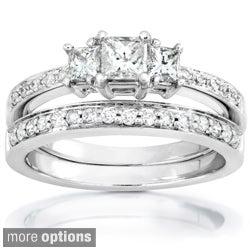 Annello 14k Gold 5/8ct TDW Princess Diamond Bridal Set (H-I, I1-I2)