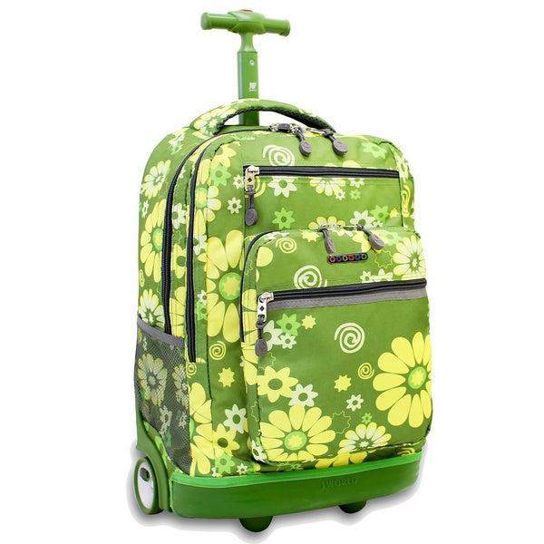 J World Khaki Flower Rolling Backpack with Laptop Sleeve