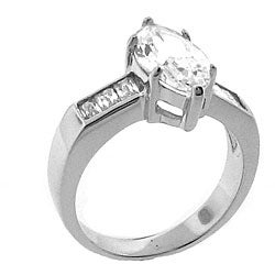 Sterling Silver Cubic Zirconia Marquise-cut Engagement-style Ring