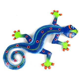 Recycled OIl Drum Painted Blue/ Green Gecko Wall Art (Haiti)