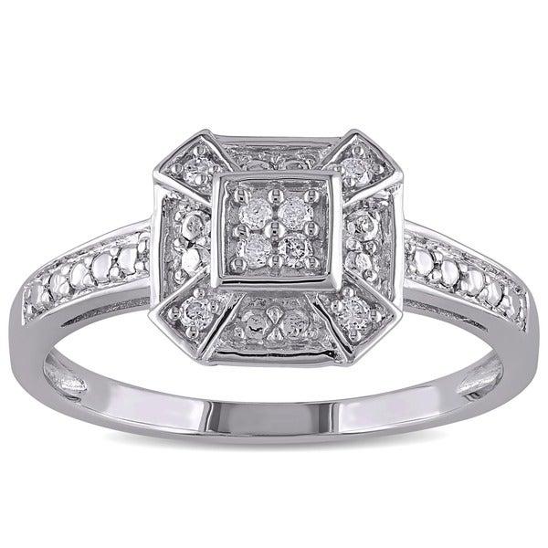 Miadora 10k White Gold 1/10ct TDW Diamond Ring (I-J, I2)