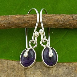 Sterling Silver Amethyst Button Earrings (Indonesia)
