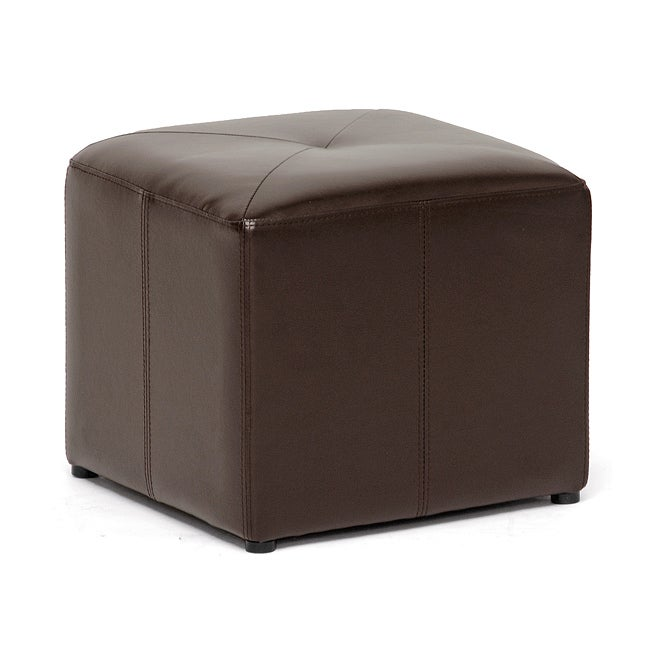 Dark Brown Bonded Leather Cube Ottoman Overstock