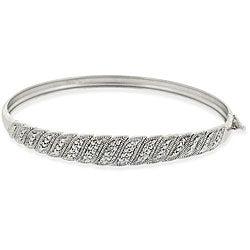 DB Designs Sterling Silver 'S' Design Diamond Accent Bangle