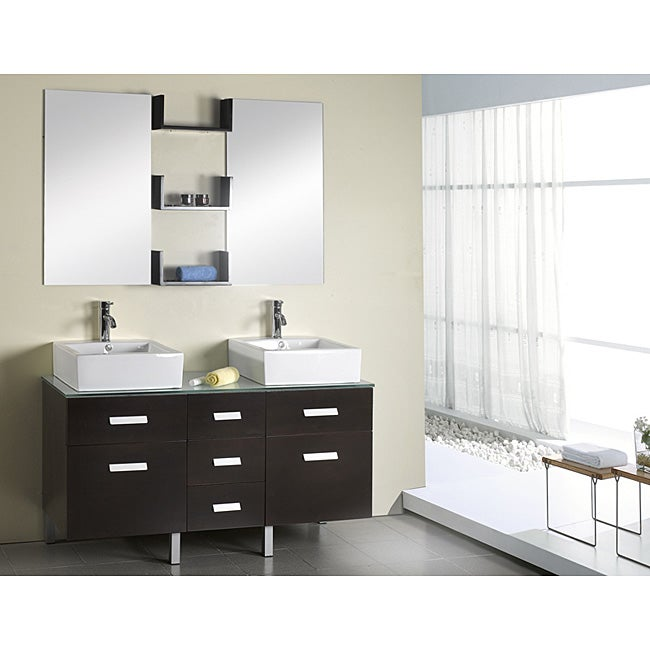 Virtu Usa Maybell 56 Inch Double Sink Bathroom Vanity Set Overstock Shopping Great Deals On