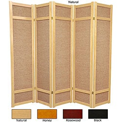 Wood and Jute 6-foot 5-panel Room Divider (China)