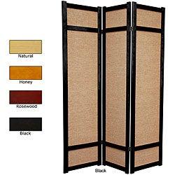 Wood and Jute 6-foot 3-panel Room Divider (China)