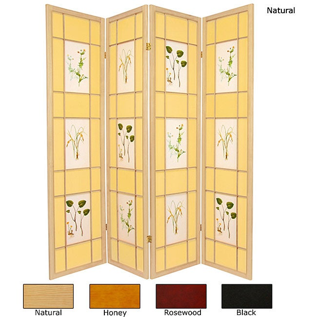 Wood and Paper Herbal Floral 4-panel Room Divider (China)