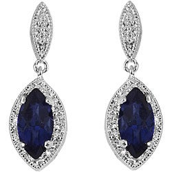 Sterling Silver Created Sapphire and 1/10ct TDW Diamond Earrings (I-J, I3)