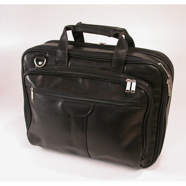 Stebco Deluxe Black Leather-look Overnight Laptop Case