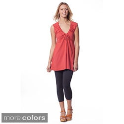 AtoZ Women's Deep V-Neck Cotton Top