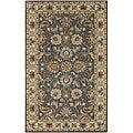 Hand-tufted Coliseum Gray Traditional Border Wool Rug (7'6 x 9'6)