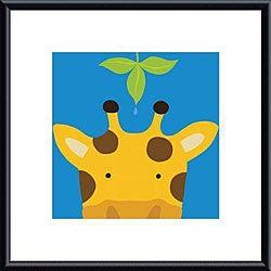 Yuko Lau 'Peek-a-Boo Giraffe' Metal Framed Art Print