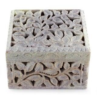 Soapstone 'White Ivy' Jewelry Box (India)