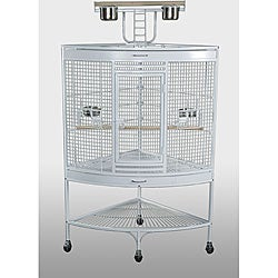 Prevue Pet Products Large Corner Bird Cage 3156W White