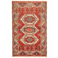 Indo Kazak Hand-knotted Red/ Ivory Rug (3&#39; x 5&#39;)