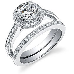 18k Gold 1 1/2ct TDW EGL Certified Diamond Bridal Set (I, SI1-SI3)