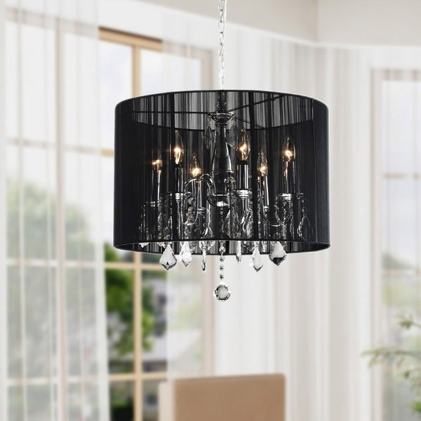 Chrome and Black 6-light Crystal Chandelier