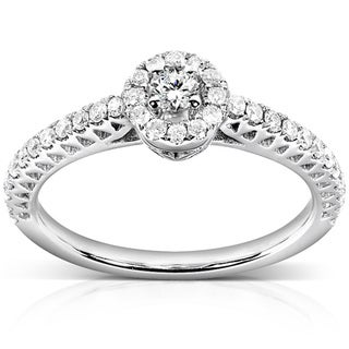 Annello 14k White Gold 1/4ct TDW Round Halo Diamond Promise Ring (H-I, I1-I2)
