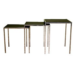 Modern Bonded Leather Nesting Tables (Set of 3)