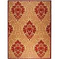 Safavieh Indoor/ Outdoor St. Barts Natural/ Red Rug (7'10 x 11')