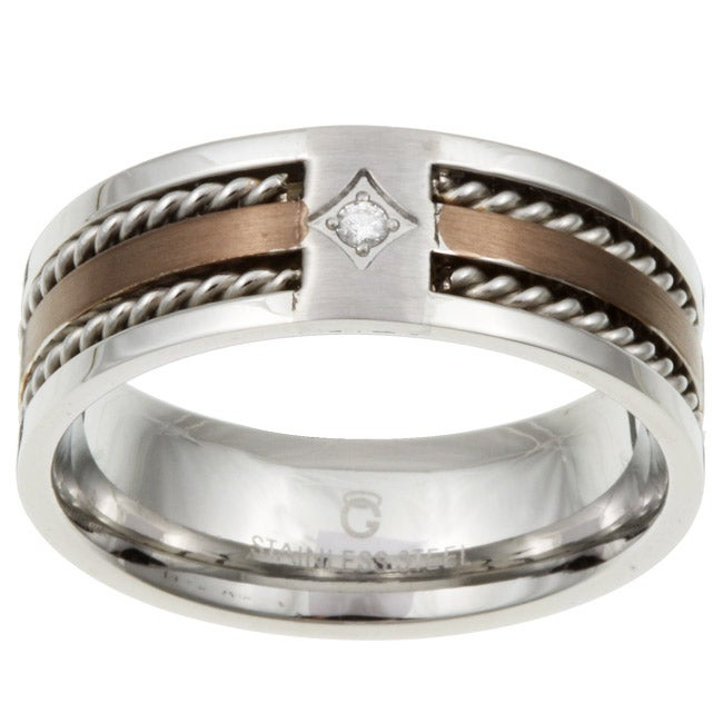 Two tone Stainless Steel Men s Diamond Band Overstock Shopping Top Ra