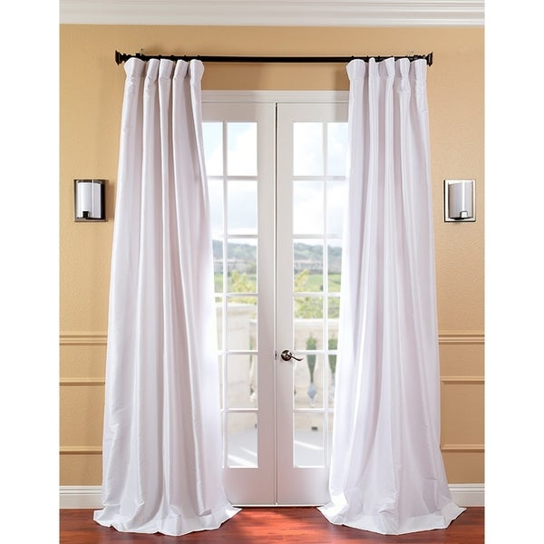 EFF Signature White Faux Silk 108-inch Curtain Panel