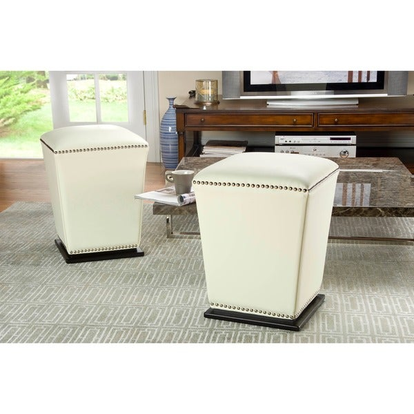 Safavieh Mason Storage Bicast Leather Off White Ottoman (Set of 2)