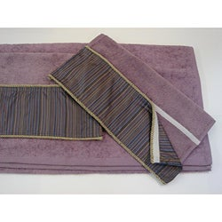 Sherry Kline Purple Stripe Velcro Band 3-piece Towel Set
