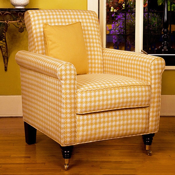 Angelo home harlow arm chair yellow and white check overstock shopping great deals on Angelo home patio furniture