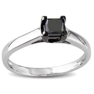 Miadora 10k White Gold 1/2ct TDW Black Princess-cut Diamond Solitaire Ring