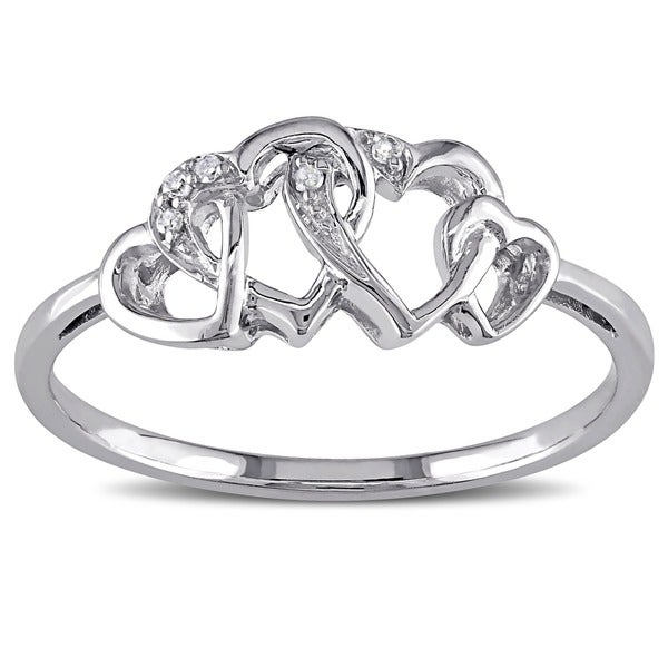 Haylee Jewels 10k White Gold Diamond Entwined Heart Ring
