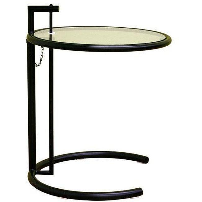 Jago Black Glass Adjustable End Table