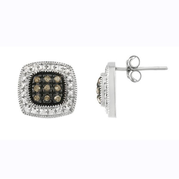 DB Designs Sterling Silver 1/5ct TDW Brown Diamond Square Earrings