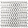 SomerTile 11.5x11.5-in Victorian Penny 3/4-in White Porcelain Mosaic Tile (Pack of 10)