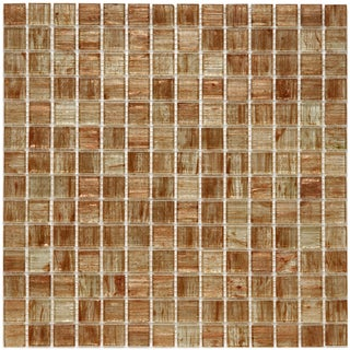 SomerTile 12x12-in Cuivre 1-in Tan Gold Translucent Glass Mosaic Tile (Case of 13)