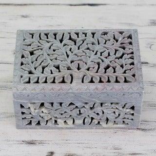 Soapstone 'Honeysuckle' Jewelry Box (India)