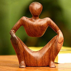Wood 'Abstract Sitting' Sculpture (Indonesia)